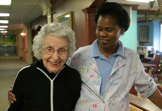Older woman and nurse